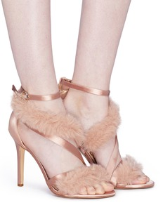 Sam Edelman 'Adelle' faux fur strappy satin sandals