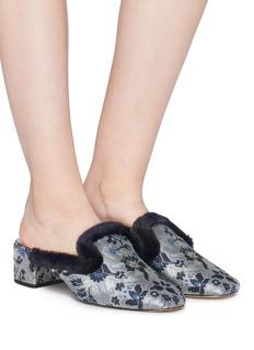 Sam Edelman 'Adair' fur trim floral jacquard mules