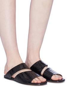 Alumnae Cutout vamp croc embossed leather slide sandals