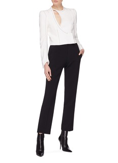 Haider Ackermann Contrast topstitching cutout front crepe jacket