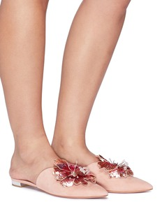 Aquazzura 'Disco Flower' sequin floral appliqué suede mules