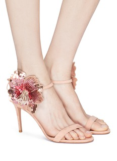 Aquazzura 'Disco Flower 85' sequin floral appliqué suede sandals