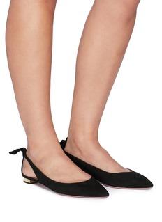 AQUAZZURA Deneuve切割镂空系结绒面真皮平底鞋