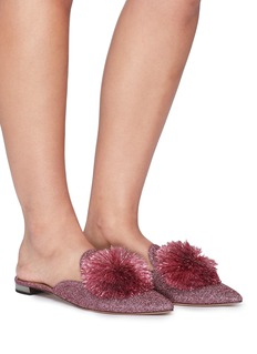 Aquazzura 'Powder Puff' pompom lurex mules