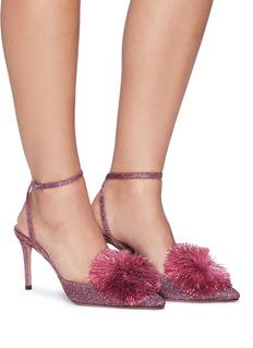 Aquazzura 'Powder Puff' pompom ankle strap lurex sandals