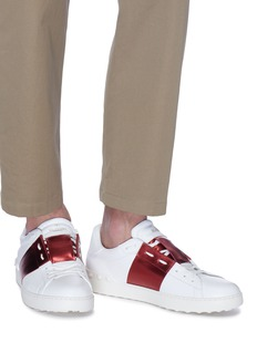 VALENTINO Open金属感条纹真皮运动鞋