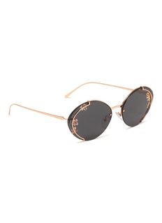 Prada Floral lens metal oval sunglasses