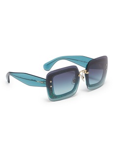 miu miu 'Reveal' mounted lens glitter acetate square sunglasses