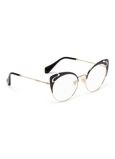 miu miu Cutout browline metal cat eye optical glasses