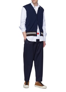 Marni Contrast topstitching colourblock stripe shirt