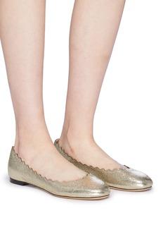 Chloé 'Lauren' scalloped metallic leather ballet flats