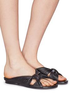 Pedder Red 'Renee' knot strap leather slide sandals