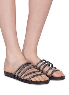 Pedro García 'Gala' Swarovski crystal satin strappy sandals