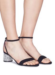 Pedder Red 'Ally' strass heel ankle strap suede sandals
