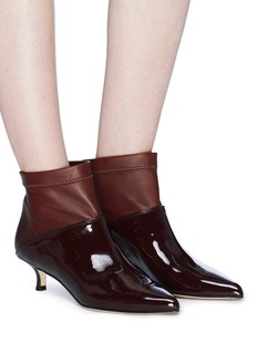 Tibi 'Jean' patent leather panel ankle boots