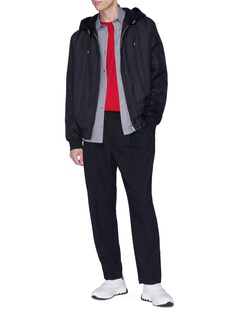 McQ Alexander McQueen Stripe virgin wool-cotton hooded jacket