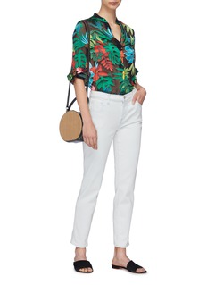 alice + olivia 'Amos' floral palm leaf burnout tunic top
