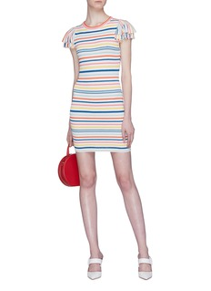 alice + olivia 'Kellin' ruffle sleeve stripe knit mini dress