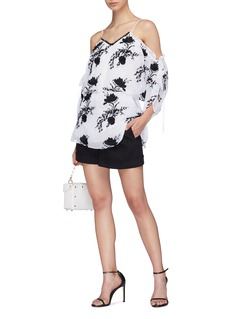 alice + olivia 'Holden' ruffle edge floral embroidered cold shoulder top