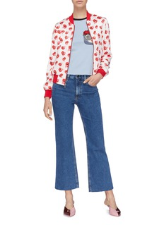 alice + olivia 'Rylyn' floral crown Stace Face appliqué T-shirt