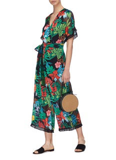 alice + olivia 'Kasia' tassel trim floral palm leaf burnout jumpsuit
