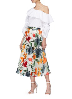 alice + olivia 'Irvine' ruched sleeve ruffle one-shoulder top
