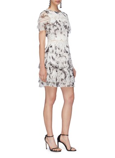 alice + olivia 'Paola' floral print tiered ruffle dress