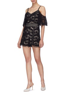 alice + olivia 'Drixa' pom pom guipure lace off-shoulder rompers