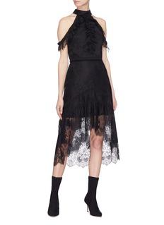 alice + olivia 'Regina' ruffle lace cropped cold shoulder top