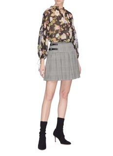 alice + olivia 'Emilie' buckled pleated houndstooth check skirt