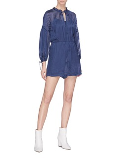 alice + olivia 'Callan' stripe burnout rompers