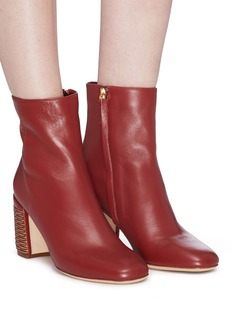 RODO Weave effect heel leather ankle boots