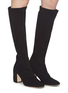 RODO Stud heel suede knee high boots