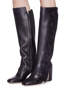 RODO Mock button flap leather knee high boots