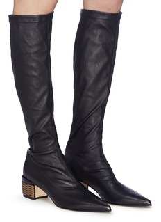 RODO Weave effect heel leather knee high boots
