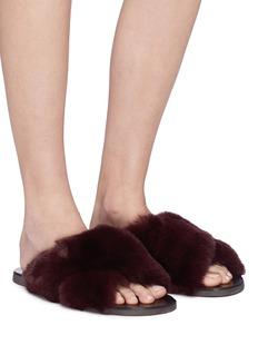 Fabio Rusconi Cross strap rabbit fur slide sandals
