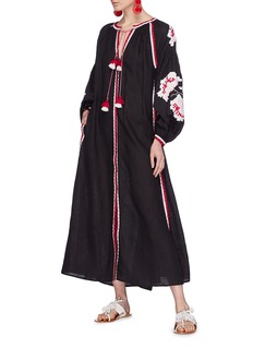 March11 'Rose Power' belted floral embroidered maxi dress