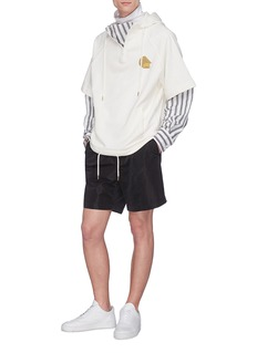 Feng Chen Wang Layered stripe sleeve hoodie