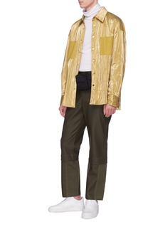 Feng Chen Wang Contrast panel metallic shirt