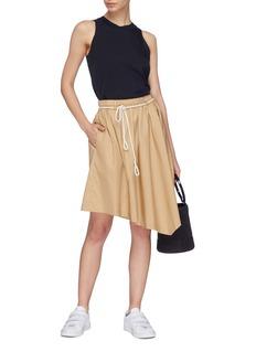 Vince Rope belt asymmetric poplin skirt