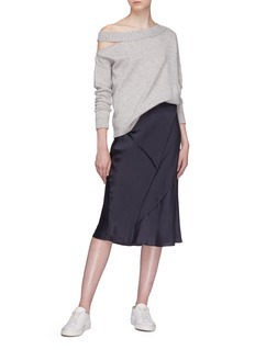 Vince Cutout one-shoulder wool-cashmere sweater