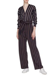 Vince Concealed placket stripe blouse