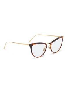 Linda Farrow Tortoiseshell acetate front metal cat eye optical glasses