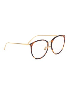 Linda Farrow Tortoiseshell acetate front metal oversized round optical glasses