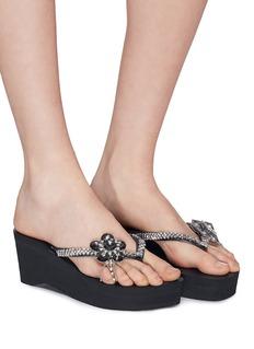 Uzurii 'Swan' floral embellished wedge thong sandals
