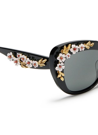 Detail View - Click To Enlarge - Dolce & Gabbana - Floral appliqué acetate cat eye sunglasses
