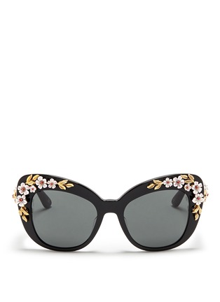 Main View - Click To Enlarge - Dolce & Gabbana - Floral appliqué acetate cat eye sunglasses