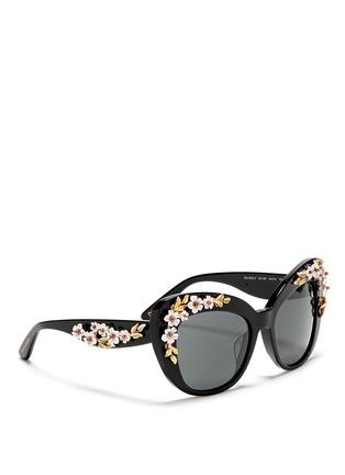 Figure View - Click To Enlarge - Dolce & Gabbana - Floral appliqué acetate cat eye sunglasses