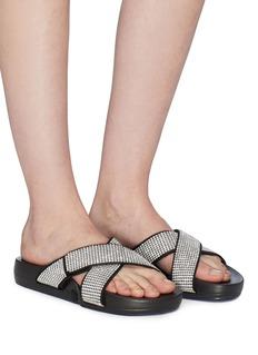 Figs By Figueroa 'Figomatic' glass crystal cross strap satin slide sandals
