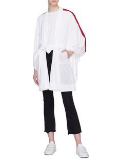 Norma Kamali Belted stripe sleeve robe jacket